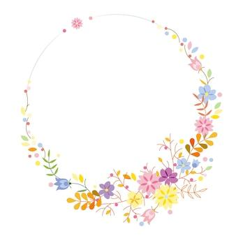 Vector tekening krullende krans van bloemen en takken met bladeren op een roze achtergrond