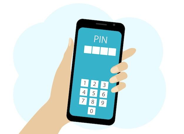 Vector tekening van een hand met een mobiele telefoon. de telefoon bevat nummers voor het invoeren van een pincode. bevestiging van eigenaarsgegevens