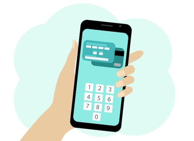 Vector tekening van een hand met een mobiele telefoon. in de telefoon, elektronische betaling met kaart. een pincode invoeren om de bewerking te bevestigen