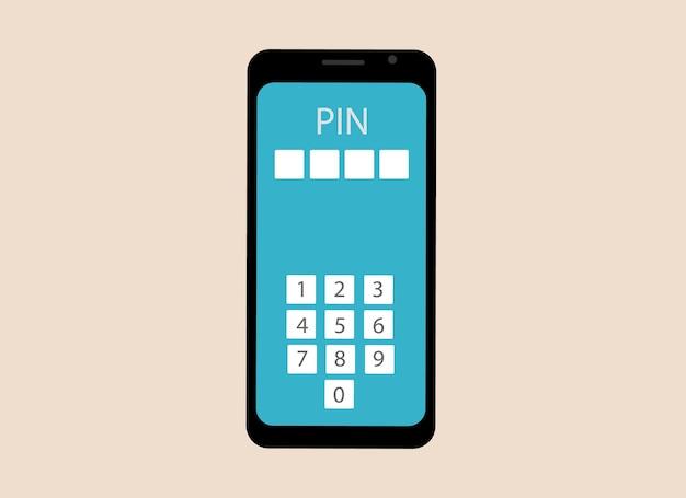 Vector tekening van een mobiele telefoon. de telefoon bevat nummers voor het invoeren van een pincode. bevestiging van eigenaarsgegevens