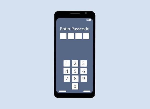 Vector tekening van een mobiele telefoon. de telefoon bevat nummers voor het invoeren van een toegangscode. bevestiging van eigenaarsgegevens