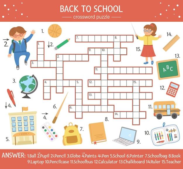 Vector terug naar school kruiswoordraadsel voor kinderen. eenvoudige quiz met schoolvoorwerpen voor kinderen. educatieve herfstactiviteit met leuke grappige elementen, leraar, leerling
