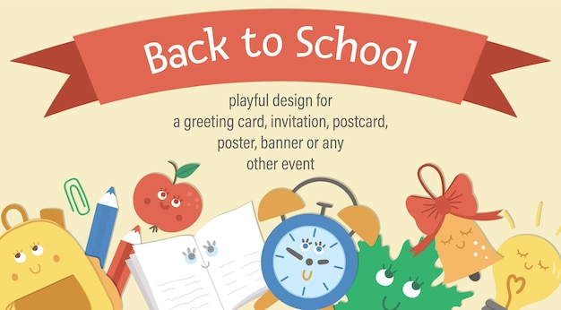 Vector terug naar school samenstelling met lint en schattige kawaii schooltas, bel, blad, wekker. grappig educatief ontwerp voor banners, posters, uitnodigingen. horizontale kaartsjabloon met grappige statio