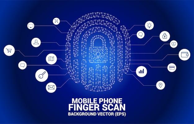 Vector thumbprint met lock pad center van dot en lijn printplaatstijl. concept voor vingerafdruktechnologie en toegang tot privacy.