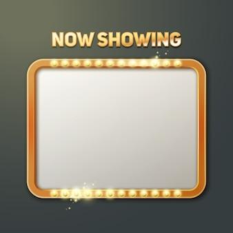 Vector toont nu bord met verlichte frame vooraanzicht geïsoleerd op donkere achtergrond