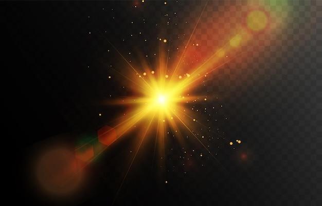 Vector transparant fel zonlicht speciaal lens lichteffect zonnevlam met stralen en schittering