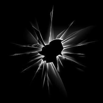 Vector transparant verbrijzeld gebarsten glazen venster met scherpe randen en kogelgaten op donker zwart