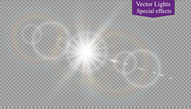 Vector transparant zonlicht speciaal lens flare lichteffect.