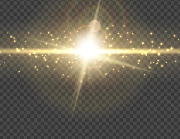 Vector transparant zonlicht speciale lens flitslicht effect.front zon lens flits. vectoronscherpte in het licht van uitstraling. decoratie-element.