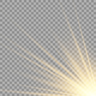 Vector transparant zonlicht speciale lens flitslichteffect. zonnelensflits aan de voorkant.
