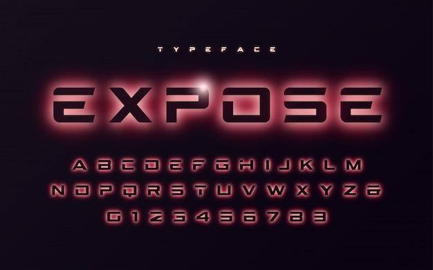 Vector trendy neonlicht of eclipse stijl futuristische gloeiende lettertype