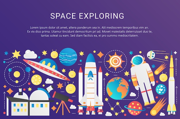 Vector trendy platte kleurovergang ruimte universum infographic elementen collectie met zon, planeten, ster ruimteschepen, ufo aliens, astronaut, asteroïden illustratie