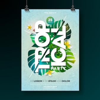 Vector tropical party flyer design