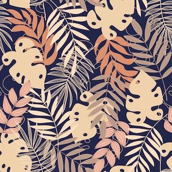 Vector tropisch naadloos patroon in pastelkleuren. vector ontwerp