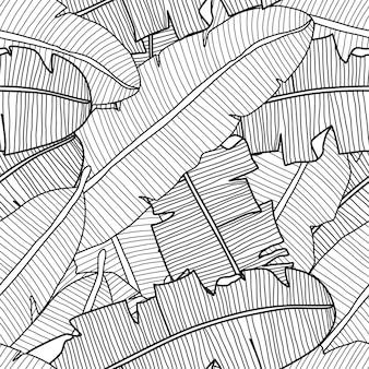 Vector tropisch naadloos patroon met exotische planten van bananenbladeren