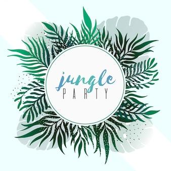 Vector tropische bladerenbanners op witte achtergrond. exotisch botanisch ontwerp voor posterfeest