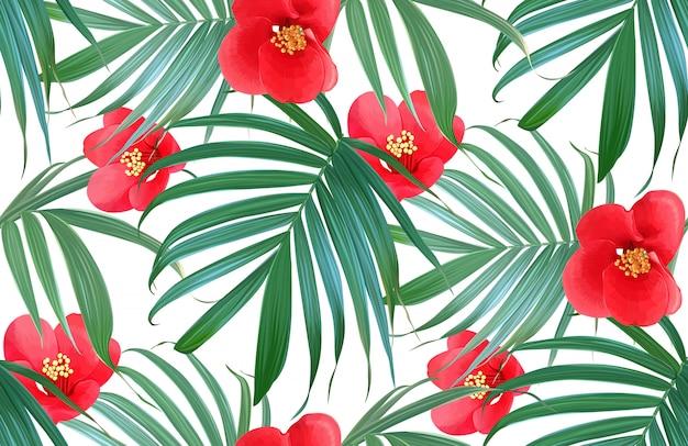 Vector tropische bloemen en palmbladen naadloos patroon.
