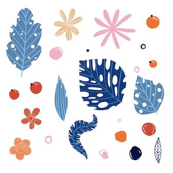 Vector tropische bloemenreeks. kleurrijke bloemencollectie met geïsoleerde bladeren en bloemen, hand tekenen. ontwerp voor uitnodigingen, bruiloften of wenskaarten.