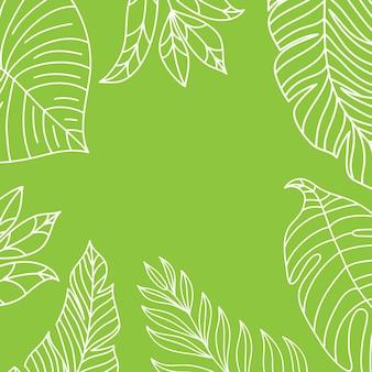 Vector tropische jungle frame met palmbomen en bladeren op een witte achtergrond voor bruiloft, citaten, verjaardag.