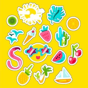 Vector tropische zomer stickers