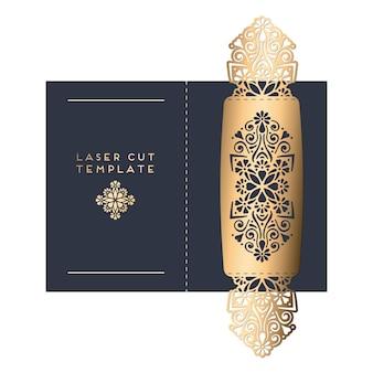 Vector trouwkaart laser gesneden sjabloon vintage decoratieve elementen hand getrokken achtergrond islam arabisch indian ottomaanse motieven vector illustratie