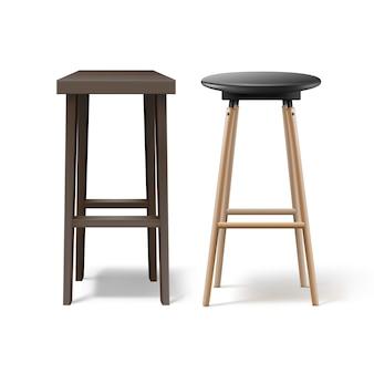 Vector twee oker, bruin houten barkrukken met zwart lederen zetels vooraanzicht geïsoleerd op een witte achtergrond
