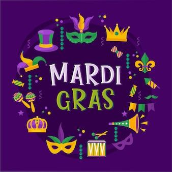 Vector typografische illustratie van mardi gras schoonheid paars