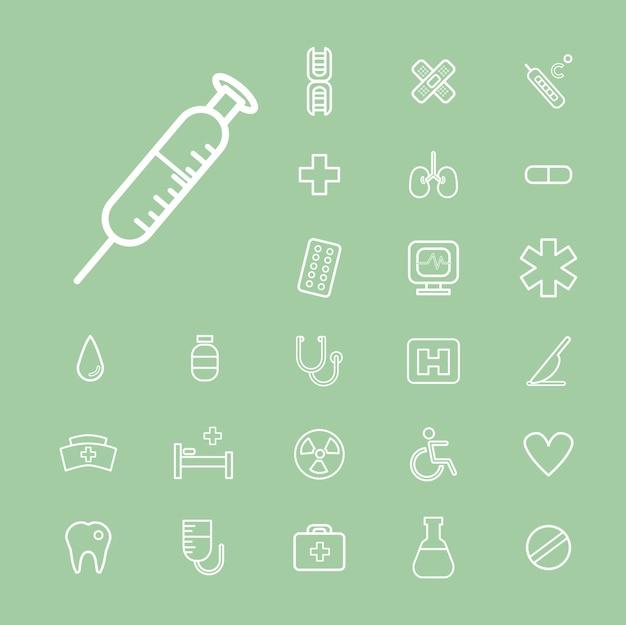 Vector ui illustratie gezondheid gezondheidszorg ziekenhuis concept