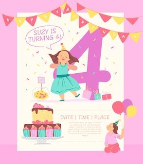 Vector uitnodiging ontwerpsjabloon voor verjaardagsfeestje met bd cake, slingers, snoep, geschenken, ballonnen, grote 4 en gelukkige meisjes tekens. platte cartoonstijl. partijaffiche, kaart, bannerillustratie.