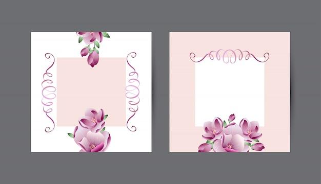 Vector uitnodigingskaarten frame met realistische magnolia bloemen