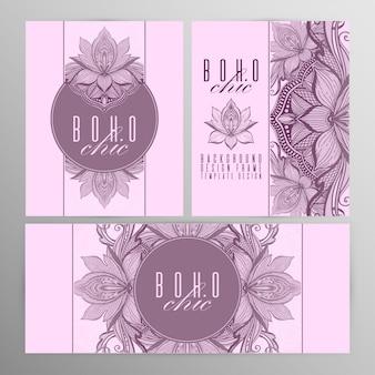 Vector uitstekende mandala lotus kaart set roze kleur.