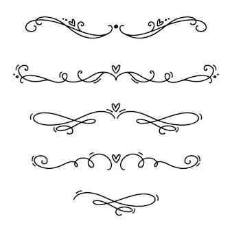 Vector uitstekende scheidingslijnen en separators van lijn elegante valentijnskaart, wervelingen en hoeken decoratieve ornamenten.