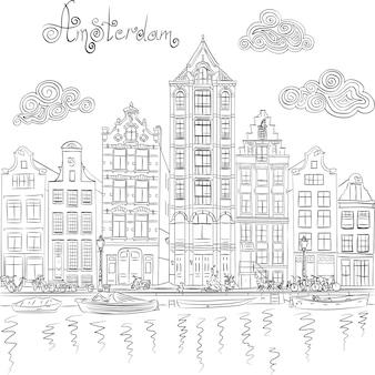Vector uitzicht op de stad van de amsterdamse gracht