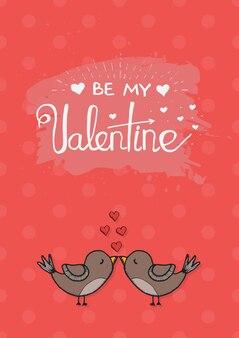 Vector valentijnsdag liefde kaartsjabloon met hand getrokken kalligrafie element. twee mooie vogels