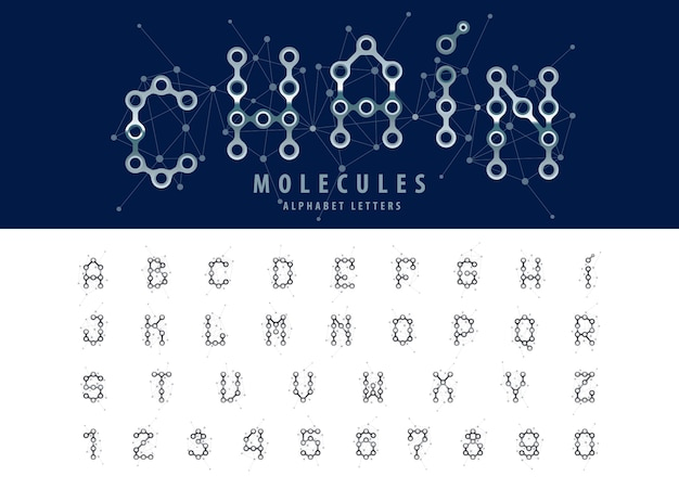 Vector van abstracte ketting alfabetletters en cijfers