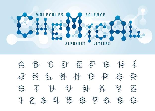Vector van abstracte molecuulcel alfabetletters en cijfers