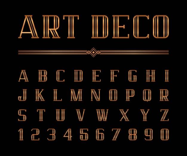 Vector van art deco-lettertype en alfabet