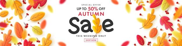 Vector van autumn sale poster of banner met vallende bladeren