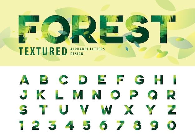 Vector van bladeren textuur alfabet letters, groene palmblad brief