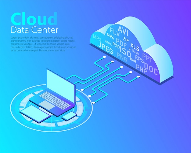 Vector van cloud datacenter, cloud computing-technologie