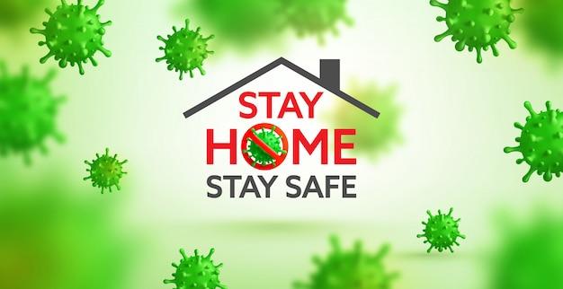 Vector van coronavirus 2019-ncov en virusachtergrond met ziektecellen. stop het uitbreken van het covid-19 corona-virus, blijf thuis en blijf veilig