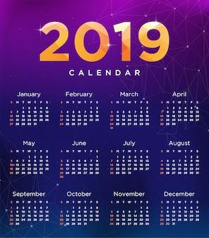Vector van de kalender van de het jaarkalender van 2019