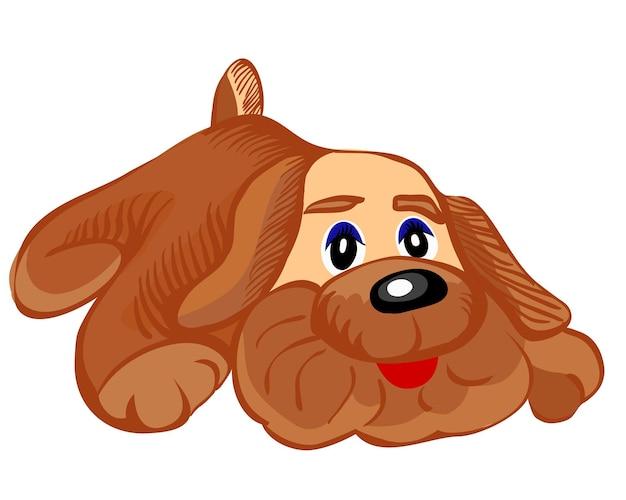 Vector van de speelgoedhond bruin met grote oren op een witte achtergrond