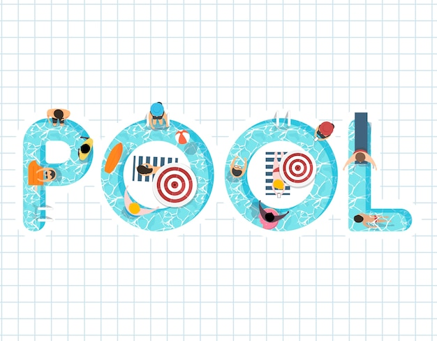 Vector van de zomer voelen ontwerp met het woord zwembad