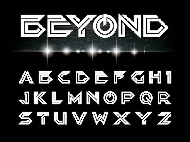 Vector van futuristische lettertype en alfabet