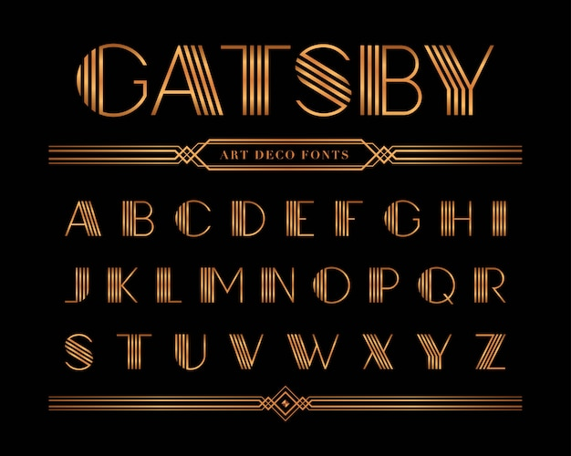 Vector van gatsby-doopvont en alfabet, gouden brievenset.