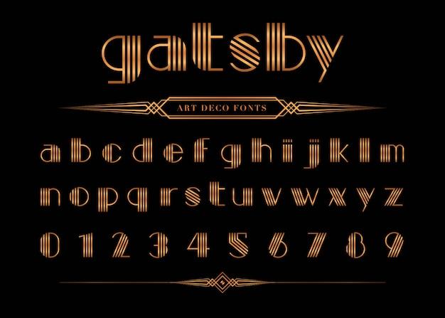 Vector van gatsby lettertype en nummer