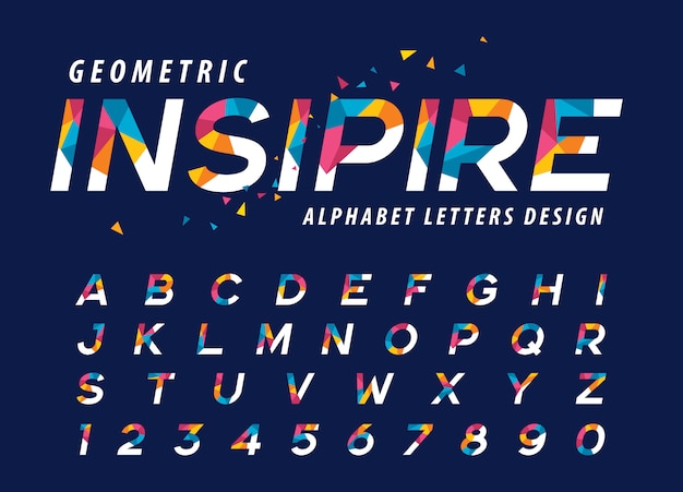 Vector van geometrische alfabetletters, kleurrijke driehoeksbrief