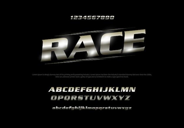 Vector van gestileerde moderne lettertype en alfabet. racetypografie