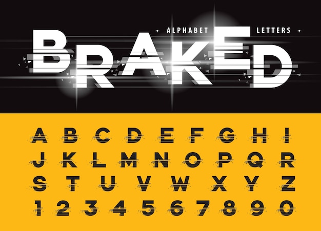 Vector van glitch modern alphabet letters